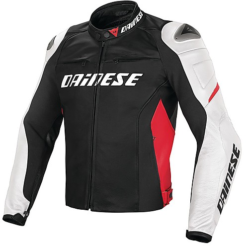 Giubbotto Pelle Dainese Racing D1 Nero Bianco Rosso Fluo  - Due Ruote 17b871f8151